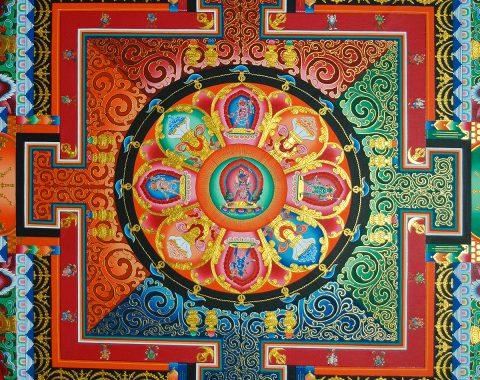 Square mandala on the ceiling of a Tibetan monastery